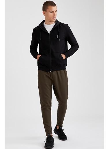 Defacto –Fit Kapüşonlu Fermuarlı Slim Fit Sweatshirt Siyah